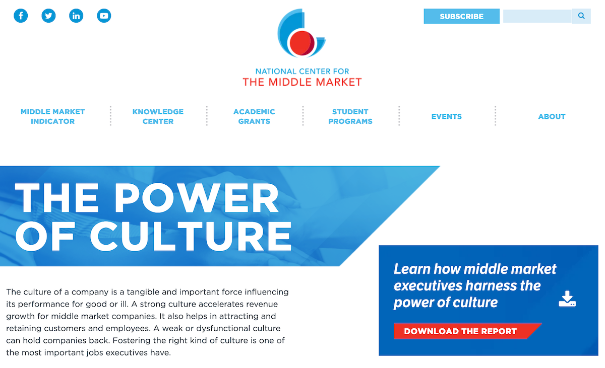 National Center for the Middle Market Interactive Web Page